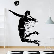 Volleyball Wall Decals Exercise Room Art Decoration Pulsation Ball Sport Vinyl Gym Wall Stickers Home Decor Teen Room 3596 Wall Stickers Aliexpress
