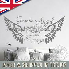Guardian Angel Sleep Tonight Bedroom Wall Sticker Quote With Angel Mural Decal