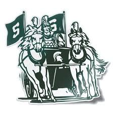 Nudge Printing Michigan State Msu Spartans College Vault Retro Spartan Chariot Logo Car Window Decal Vinyl