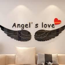 Angel Wings Acrylic 3d Wall Stickers For Kids Room Living Room Study Room Diy Art Wall Decor Bedroom Wall Decoration Wall Stickers Aliexpress