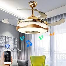 Ruiwing 42 Smart Bluetooth Music Player Ceiling Fans With Led Colorful Light Retractable Blades Chandelier And Remote Control With Silent Motor Ceiling Lamp For Kids Room Living Bedroom Buy Products Online