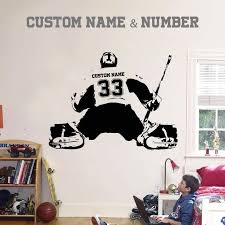 Custom Personalized Goalie Wall Decal 14 Colors Extremely Limited Playoffs Hockeylife Share Nhl Hockey Bedroom Hockey Room Boys Hockey Room