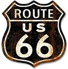 Amazon Com American Vinyl Vintage Black Rusty Route 66 Sign Shaped Sticker Us Historic Highway Old Decal Automotive