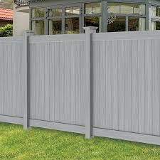 Freedom Hampton 6 Ft H X 6 Ft W Woodgrain Gray Vinyl Flat Top Fence Panel In The Vinyl Fence Panels Department At Lowes Com