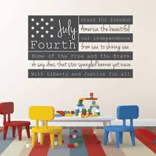 Patriotic Decals Usa Wall Decal Fourth Of July American Flag Wall Art With Quote Customvinyldecor Com