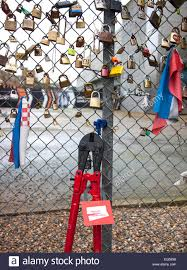 Love Padlocks On A Fence With Bolt Cutters Stock Photo Alamy