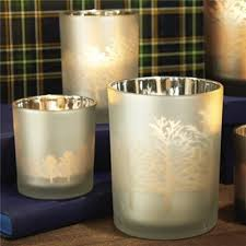 frosted tealight candle holders set