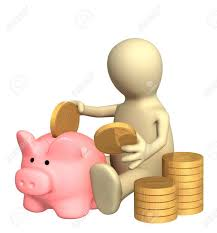 3d Puppet Who Is Saving Money In Piggy Bank. Object Over White Stock Photo,  Picture And Royalty Free Image. Image 3803704.