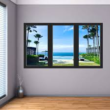 Vwaq Tropical Beach Vacation Wall Decal 3d Ocean Window View Sticker