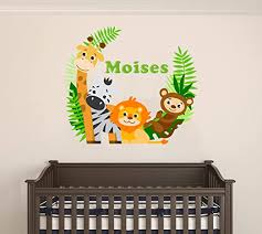 Amazon Com Custom Name Jungle Animals Baby Safari Animals Series Theme Wall Decal Wall Decal For Nursery Bedroom Playroom Decoration Wide 15 X13 Height Home Kitchen