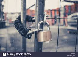 Chain And Padlock On Gate At Construction Site Lock On Closed Fence Stock Photo Alamy
