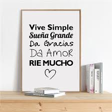 spanish vive simple quotes art painting poster life quote canvas