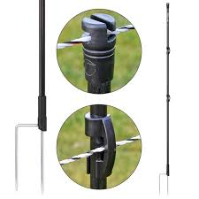 10x Voss Farming Fibreglass Post 125cm O 13mm Round 2 Spikes Black