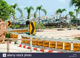 Roller Barriers Set Up To Protection On Steep Curved Roads And Down Hill Stock Photo Alamy