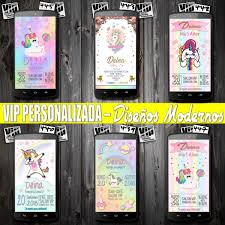 Invitaciones Digitales Unicornios Cumpleanos 99 00 En