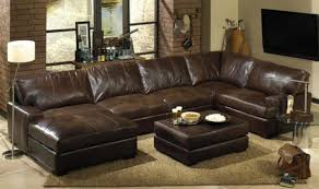 distressed leather sectional