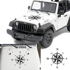 50x50cm Compass Pattern Car Hood Stickers Vinyl Decals Universal For Jeep For Wrangler Rubicon Jk Cj