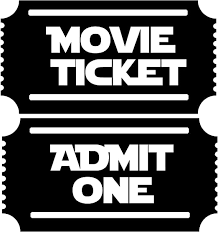 Amazon Com Movie Tickets 2 Admit One New Large Theater Room Wall Decor Decal White Home Kitchen