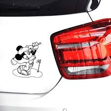 Amazon Com Mickey And Minnie Mouse Car Stickers Mickey Mouse Golf Decal Cartoon Vinyl Sticker Art Decor Children S Kids Ideas 7 87 8 Inch Home Kitchen