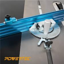 Powertec 24 In X 3 In Table Saw Precision Miter Gauge System Multi Track Fence With 27 Angle Stops 71391 The Home Depot