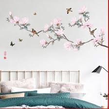 Pink Peach Blossom Tree With Birds Wall Sticker Chinese Style Flowers Wall Decal Natural Botany Living Room Wall Decor Peel Stick Thefuns On Artfire