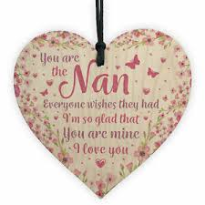 nan nanny grandma gift wooden heart sign birthday gift for nan