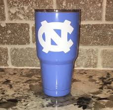 Baby Blue 30oz Yeti Rambler With North Carolina Tar Heels Decal If You Choose 2 Decals Front And Back Just Let Us Know Wha Tar Heels Yeti 30 Oz Tarheel Blue