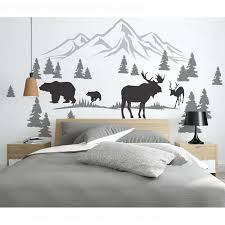 Nursery Wall Decals Pine Tree Wall Decals With Bear Moose Roll Vinyl Stickers Mountains Forest Landscape Home Decoration 3906 Wall Stickers Aliexpress