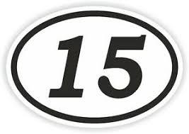 15 Fifteen Number Oval Sticker Bumper Decal Car Motocross Motorcycle Aufkleber Ebay