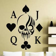 Poker Wall Decal Holdem Skull Card Suits Casino Club Door Window Vinyl Stickers Teens Bedroom Living Room Home Decor Mural Q550 Wall Stickers Aliexpress