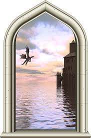 Amazon Com 24 Castle Window Medieval Knight View Castle Dragon Sunset 2 Wall Decal Kids Room Sticker Home Office Art Decor Den Man Cave Mural Graphic Small Home Kitchen