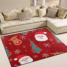 Amazon Com Colourlife 80 X 58 Inch Lightweight Area Rug Mat For Kids Playing Room Home Decor Indoor Floor Rugs Christmas Deer With Santa Claus Kitchen Dining