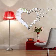 Love Heart Shape Mirror Home 3d Wall Stickers Decor Diy Decal Mirror Wall Living Room Wall Decor Stickers Mirror Wall Decor