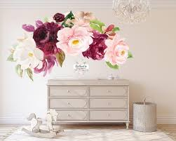 72 Peony Floral Wall Decal Flower Sticker Blush Pink Rose Burgundy Wi Pink Forest Cafe