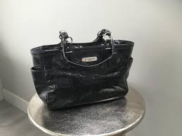 black embossed patent leather tote bag