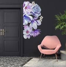 3d Floral Purple Daisy Lily Orchid Flower Bouqets Wall Decal Sticker Wall Decals Wallmur