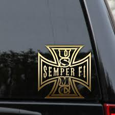 Usmc Semper Fi Decal Sticker Iron Cross Marines Veteran Car Truck Laptop Window Ebay