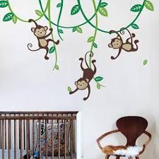 3 Monkeys Swinging From Vines Wall Decal Simple Shapes Monkey Decal Nursery Wall Decals Kids Wall Decals