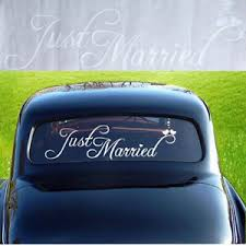 Cw Eb Just Married Wedding Car Vehicle Rear Window Banner Sticker Decal Decor Ebay