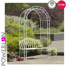 china metal iron garden arch with seat