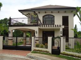 Stylish Home Ideas With White Exterior Color And Modern Iron Fence Modern Home Fence Design 2 Storey House Design House With Balcony Simple House Plans