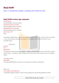 pdf for Benq M100 Cell Phone manual