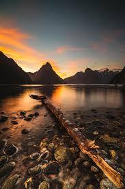 lake and mountains at sunset