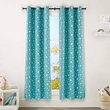 Amazon Com Amazonbasics Kids Room Darkening Blackout Window Curtain Set With Grommets 42 X 84 Teal Stars Home Kitchen