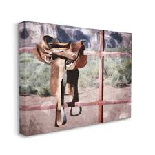 Stupell Industries Saddle On Fence Farm Horse Riding Painting Canvas Wall Art By Milli Villa Walmart Com Walmart Com