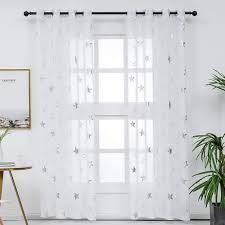 Amazon Com Kotile Star Curtains Short For Kids Room Silver White Sheer Curtains Star Print Window Curtains Kids Nursery Star Curtains 2 Panels 52 X 63 Inches Home Kitchen