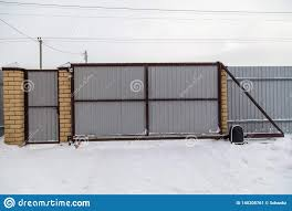 Retractable Gate On The Fence In Winter Stock Image Image Of Structure House 140205761