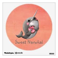 Shy Narwhal With Donut Wall Sticker Zazzle Com
