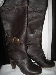 prince leather knee high buckle belted