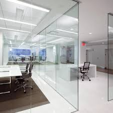 plain office glass wall partition